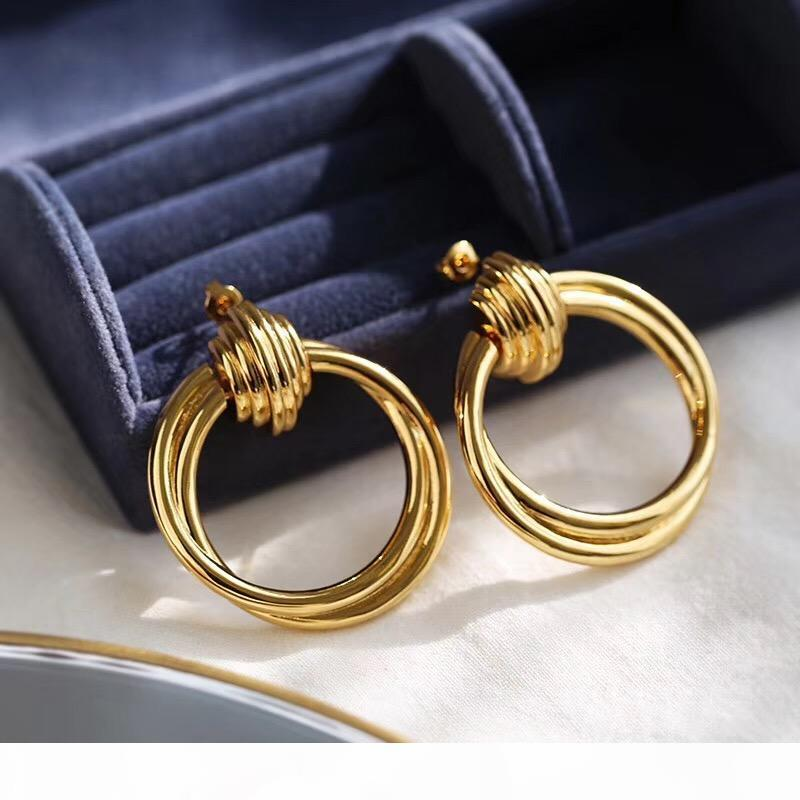 Yeni Tasarım Yaratıcı Takı Yüksek Dereceli Zarif Yuvarlak Küpe Altın Kaplama Düğün Parti Küpe Kadın için PS6743