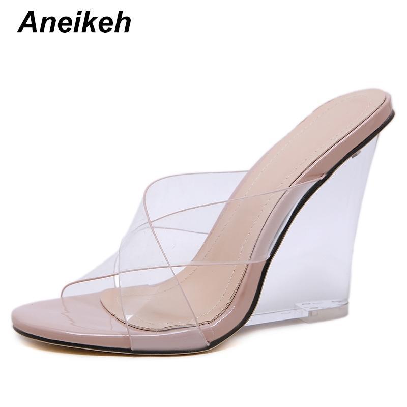 Aneikehandalen Schuhe Frau PVC Kristall Keile Ferse Transparente Frauen Sexy Klarer High Heels Sommer Sandalen Pumps Schuhe Größe 41 210225