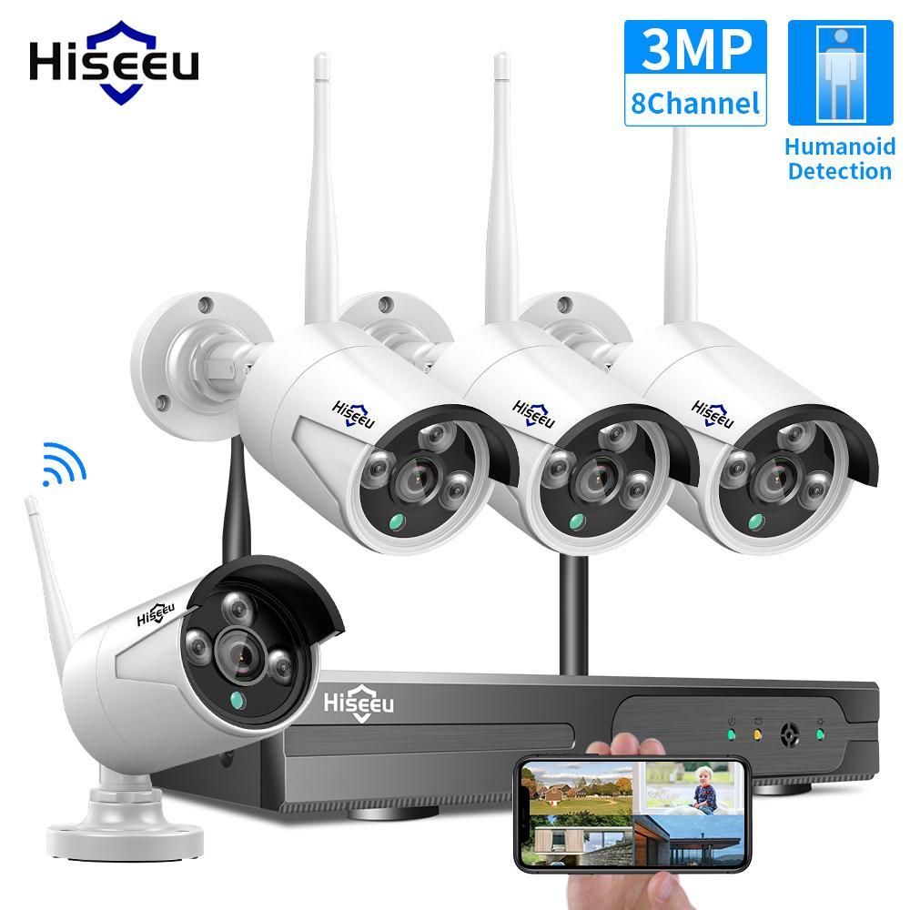 히사 8CH 무선 CCTV 시스템 1536P 1080P NVR 와이파이 야외 3MP AI IP 카메라 보안 비디오 감시 LCD 모니터 키트