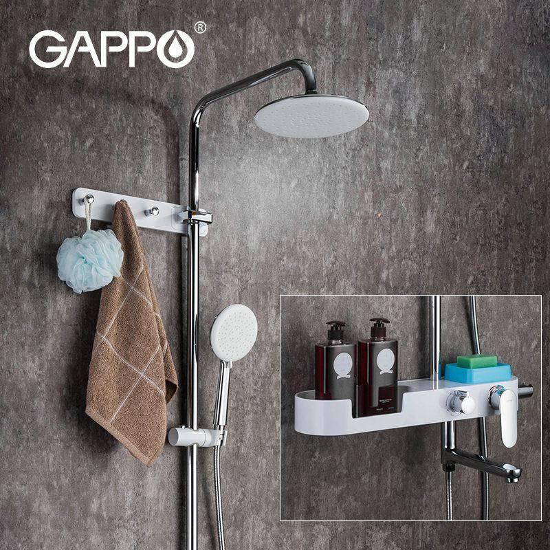 Gappo Bath Shower 시스템 믹서 회전 욕조 주둥이 벽 마운트 강우량 샤워 헤드 핸드 샤워 강우 시스템