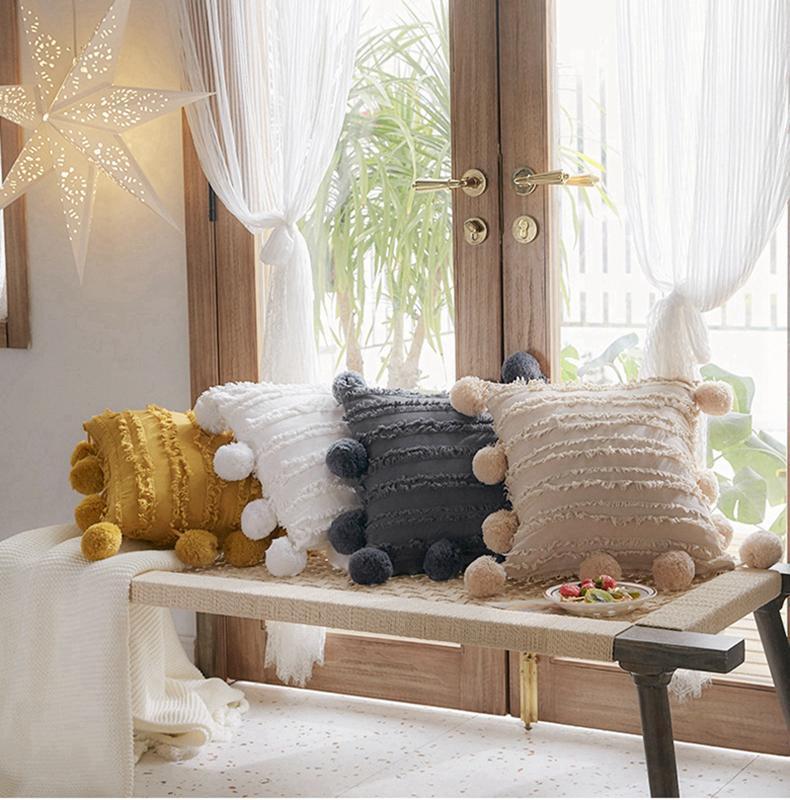 Cubierta de almohada de borlas florales de asiento con pompón amarillo gris blanco cojín decorativo cubierta casero decoración de la casa funda de almohada 45x45cm CCA2677