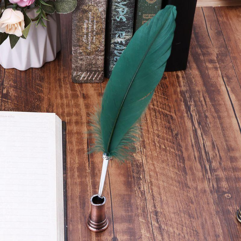 Fountain Pens M0XB Vintage Feather Quill Dip Pen Holder Metal Stand Office School Supplies Stationery Student Gift