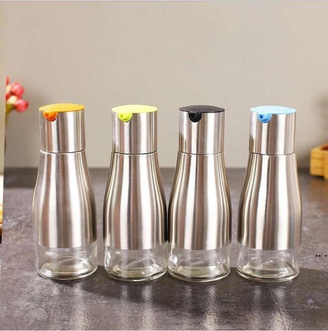 Yağ depolama olabilir şişe soya sosu sirke baharat depolama cam alt paslanmaz çelik sprey yağ şişesi mutfak aracı 320ml DHC6343