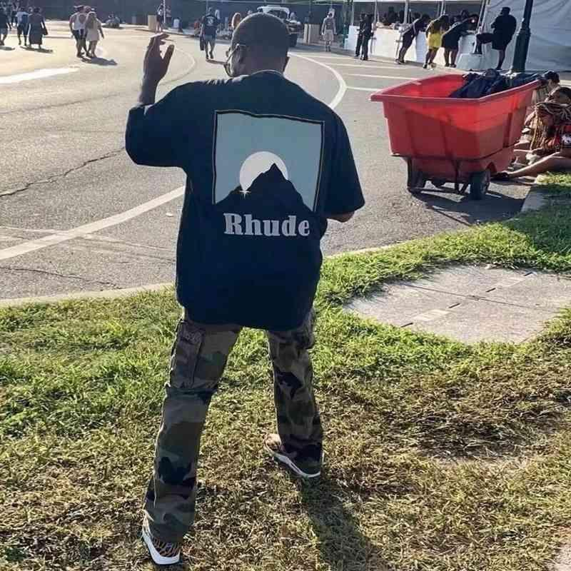Brand Ins Rhu T shirt Rhude snow mountain sunset printing washed used t-shirt men and women lovers short sleeve high str
