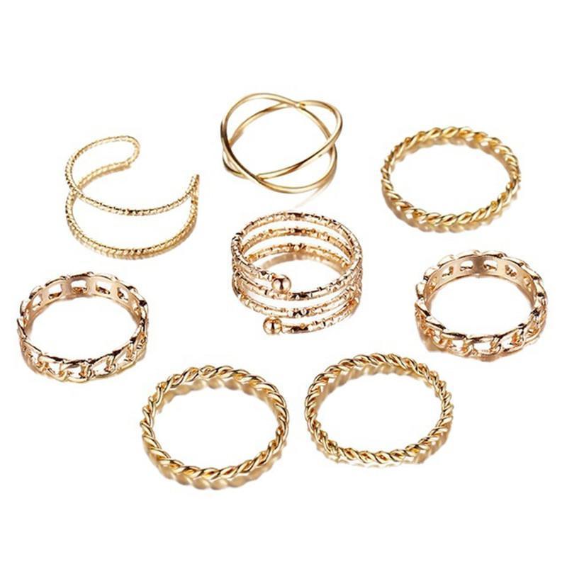 Punk Geometric Metal Rings Set For Women Fashion Vintage Silver/Gold Adjustable Finger Midi Knuckle Ring 8Pcs/set