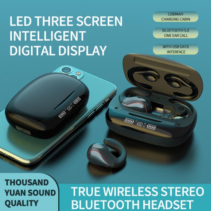 سماعات سماعات سماعات مصغرة بلوتوث 5.0 سماعة T20 TWS سماعات ستيريو لاسلكية مسمار التحكم 1200mAh شحن مربع الرياضة