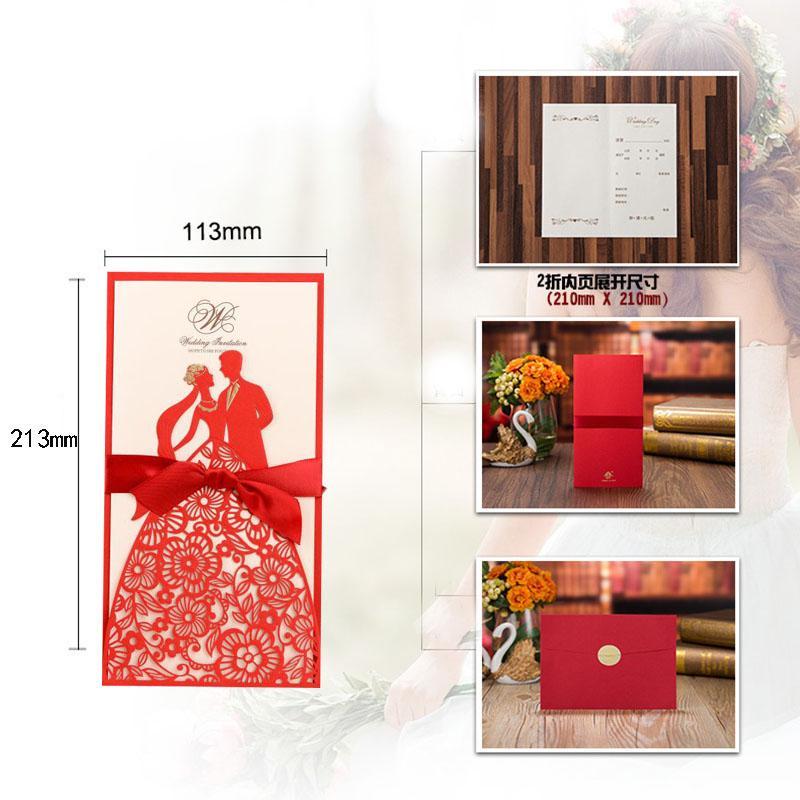 50 шт. Blue Laser CUделить свадебные приглашения карты невесты и жениха Поздравительная открытка Конверты с лентой Свадебная вечеринка оформление оформления