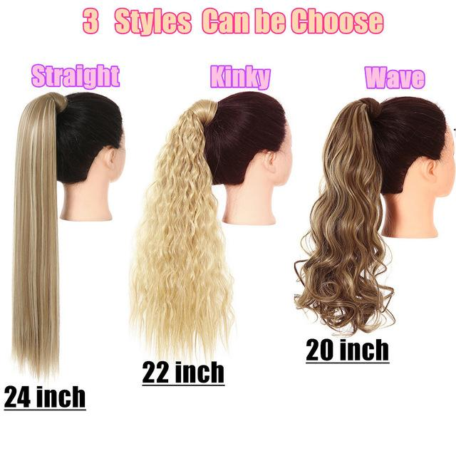 clip in ponytail hair extension wig straight kinky curly long synthetic wrap around fake pony tail blonde false afro hairpiece