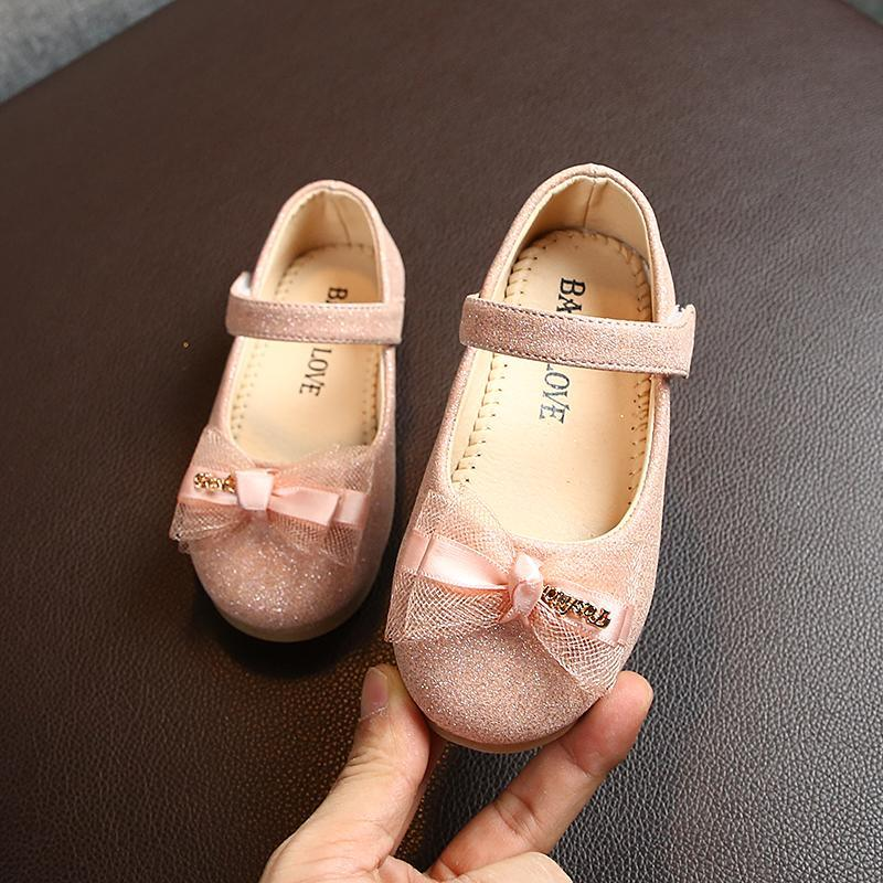 Sneakers Spring Autumn Casual Children Shoes For Girls Toddler Single With Bow-knot Princess Sweet Kids Flat 2 Colors