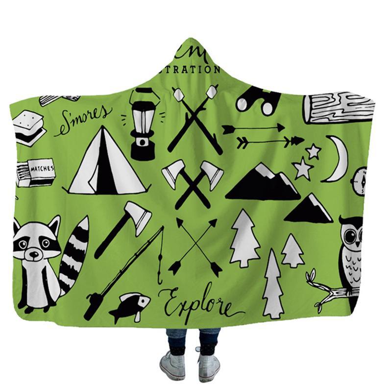 Camper Çocuklar Için Piknik Kapüşonlu Battaniyeler Yumuşak Sıcak Kamp Araba Kavurma Atmak Yumuşak Sıcak Sherpa Polar Battaniye Wrap GWE5209