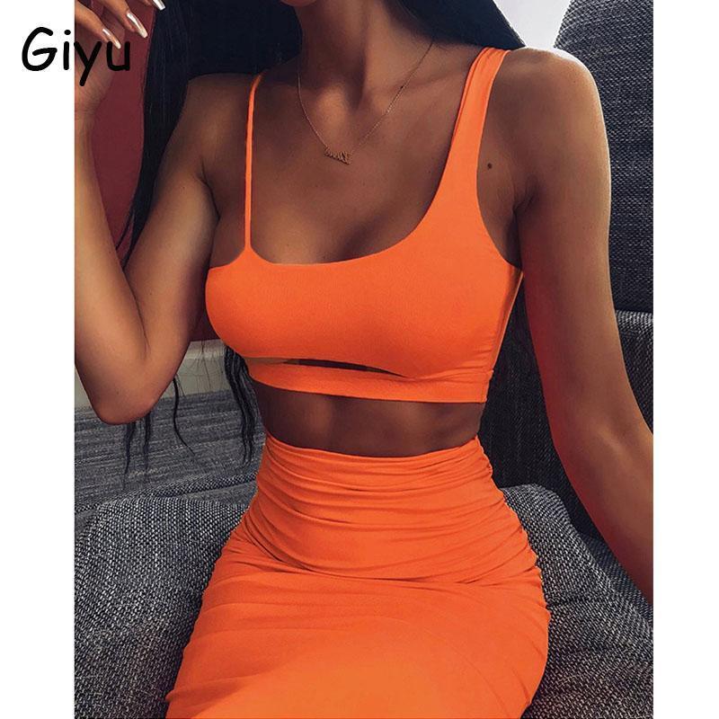 Zwei Stück Kleid Giyu Neon 2 Set Frauen 2021 Sommer Sexy Off Schulter Rock Sets Fluoreszierende Bodycon Backless Slim Trainingsanzug