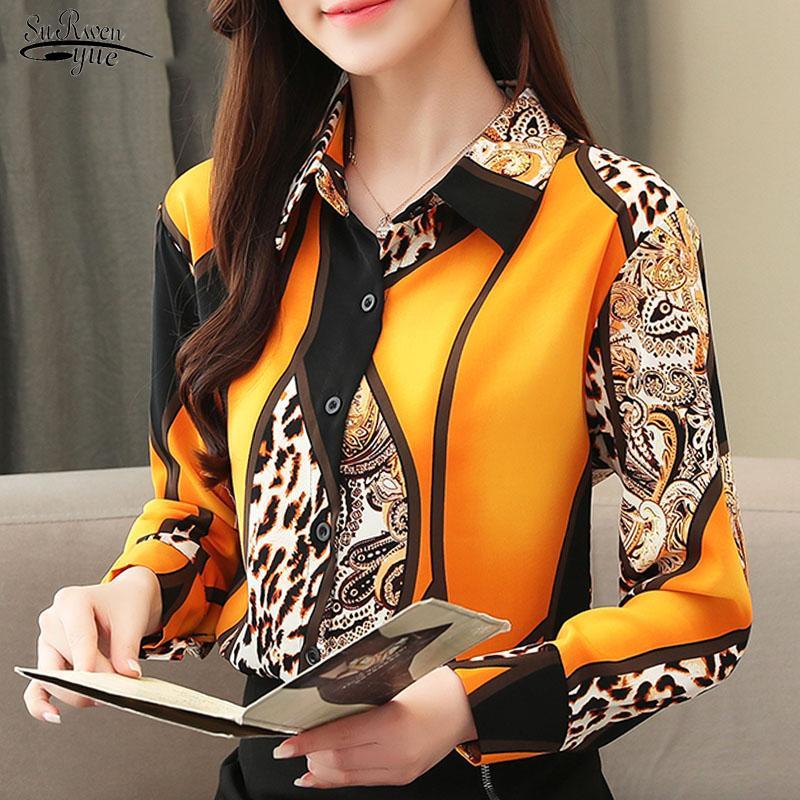 2021 Camicetta Donne Fashion Chiffon Camicie Donne Ufficio Lady Tops Leopard Blusso BlusAS Femininas Camicie Leopard Pulsante 210302