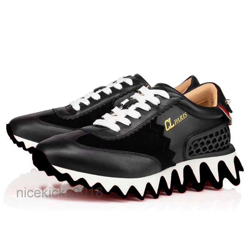 Erkekler Siyah Deri Rahat Ayakkabılar Bayan Klasik Kırmızı Alt Eğitmenler Köpekbalığı Sneakers Espadrilles Platformu Ayakkabı Düz Chaussures Konfor Ayakkabı