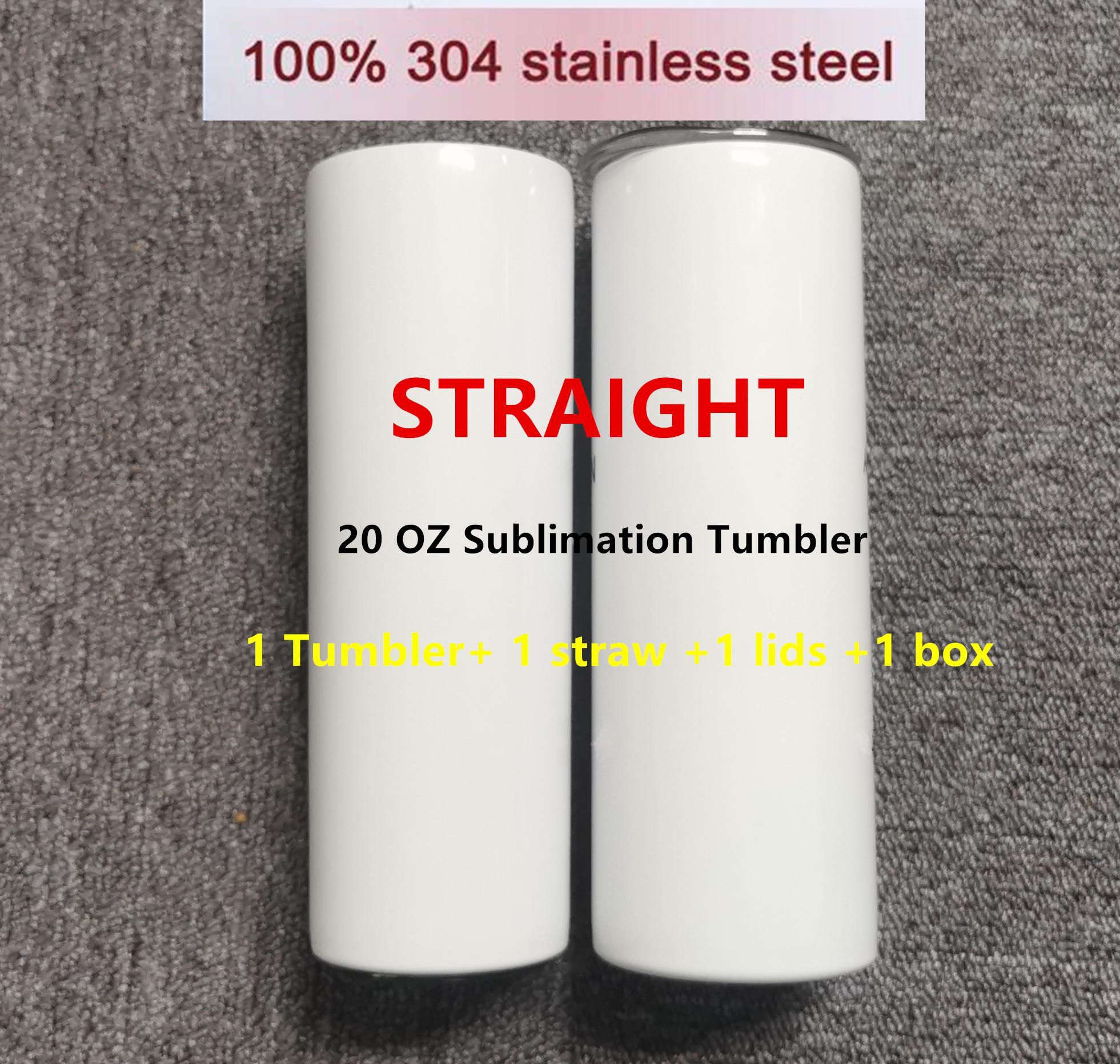 Sublimering tumblers 20oz Blank vit avsmalnande raka koppar med lock halm 20oz 304 Rostfritt stål Vakuumisolerat vatten Muggar