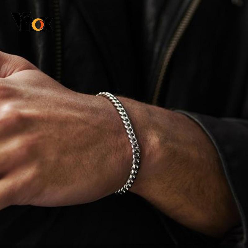 남성 간단한 3-11mm 스테인레스 스틸 쿠바 링크 체인 팔찌 여성용 유니섹스 손목 보석 선물