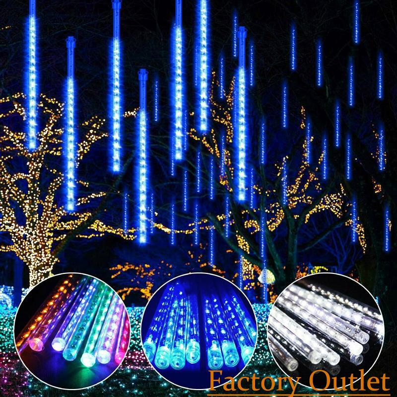 Waterproof 30CM 50CM 8pcs/set Snowfall LED Strip Light Christmas Meteor Shower Rain Tube Light String AC100-240V for Xmas Party Wedding