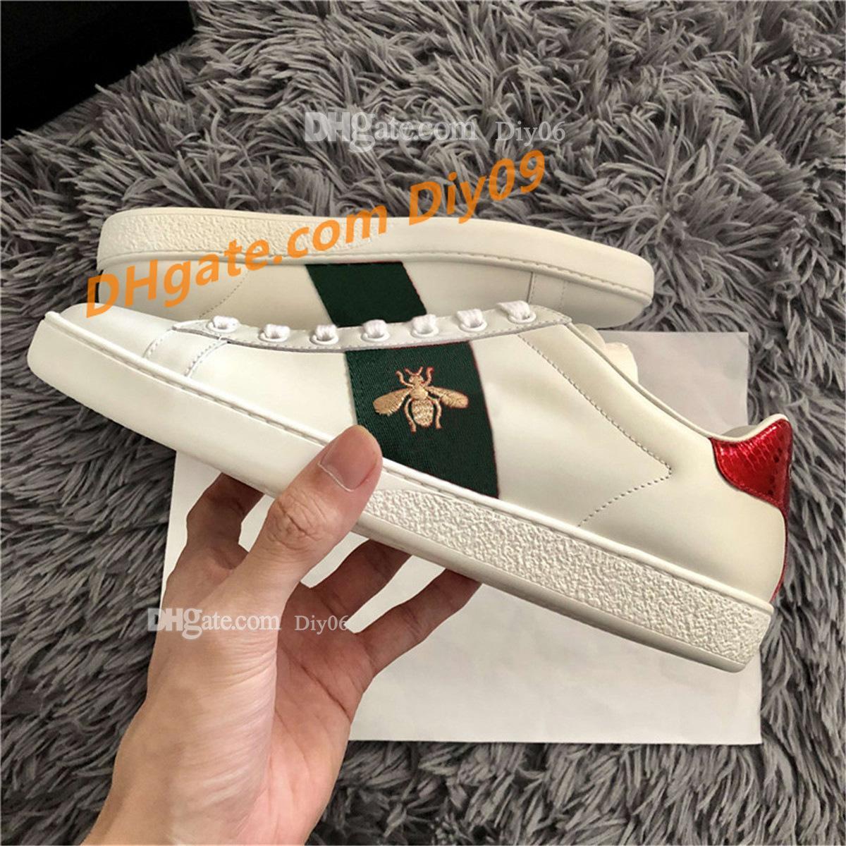 Gner Luxurys Designers Men Femmes Chaussures Sneakers Séparent Design Ace Broderie Bee TIGE TIGE TIGER SNAKE CHIEN CASSAL TRAINATEURS UNISEXE UNISEXE