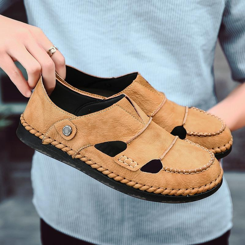 New Summer Men Sandals 2021 Leisure Beach Men Casual Shoes High Quality Genuine Leather Sandals The Mens Sandals Big size 38-48
