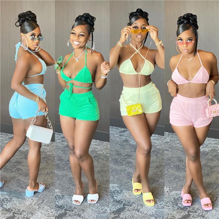 إمرأة مثير قطعتين البيكينيات مجموعات ضمادة عارية الذراعين التفاف قمم عارضة تنفس السراويل الصيف بلون المرأة شاطئ ملابس السباحة
