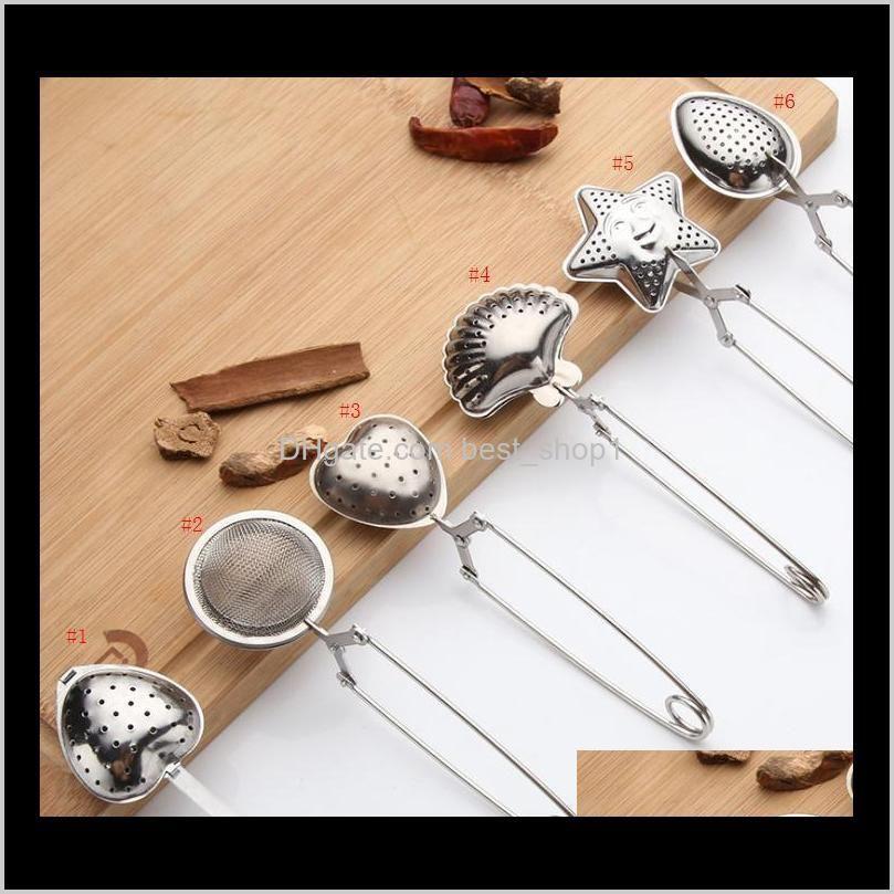 6 estilos Acero inoxidable Colador de té Cuchara de té Sazonador Infusor Star Shell Oval Redondo Corazón Forma Strainer TEAware L6UWK DKSM4