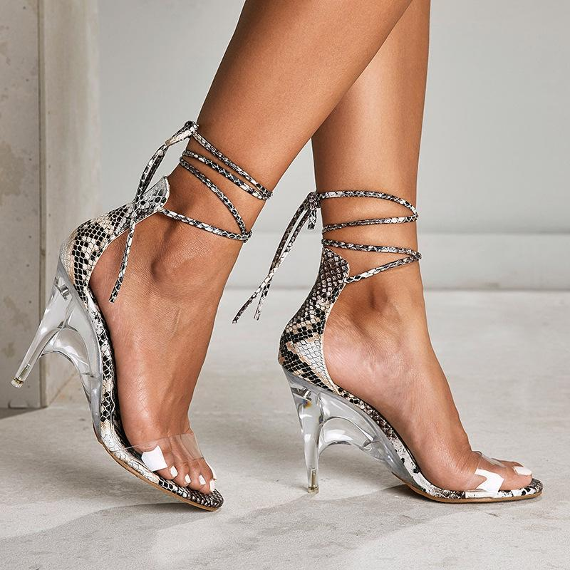 Sandalias Serpentine Women Sexy PVC Transparente Tacones Altos Cuñas Abre Toe Crystal Dress Party Shoes