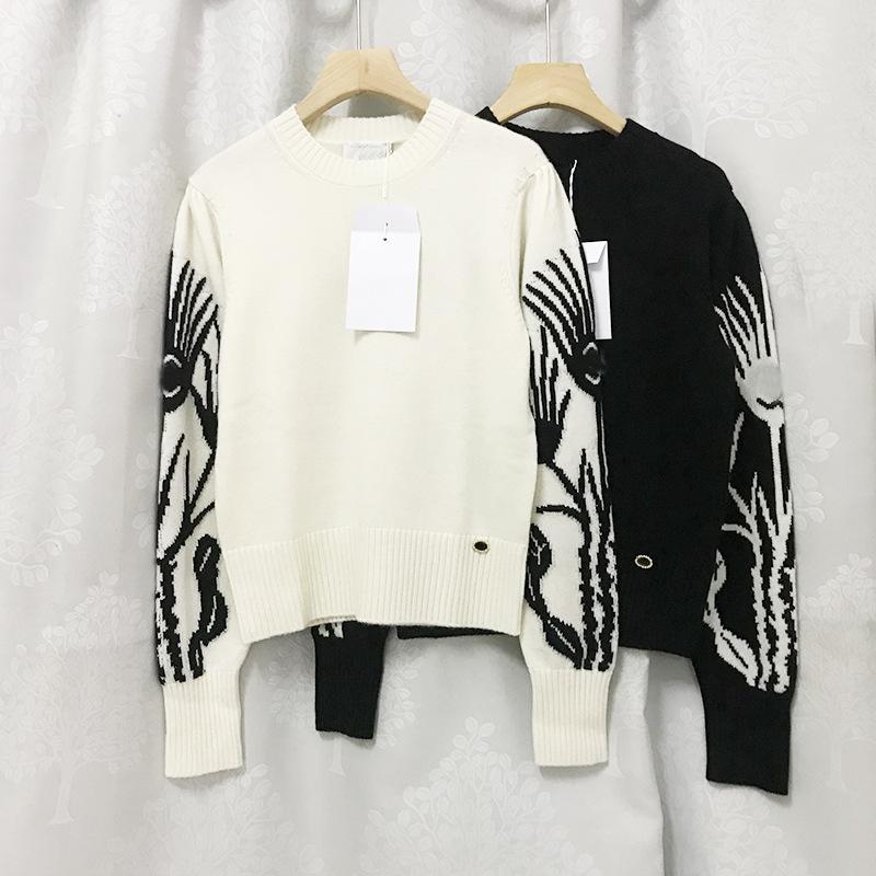 704 2021 Primavera Summer Brand Same Style Maglioni di alta qualità Crew Neck Bianco Black Pullover Stampa manica lunga Stampa Donna Vestiti Sweater Xue