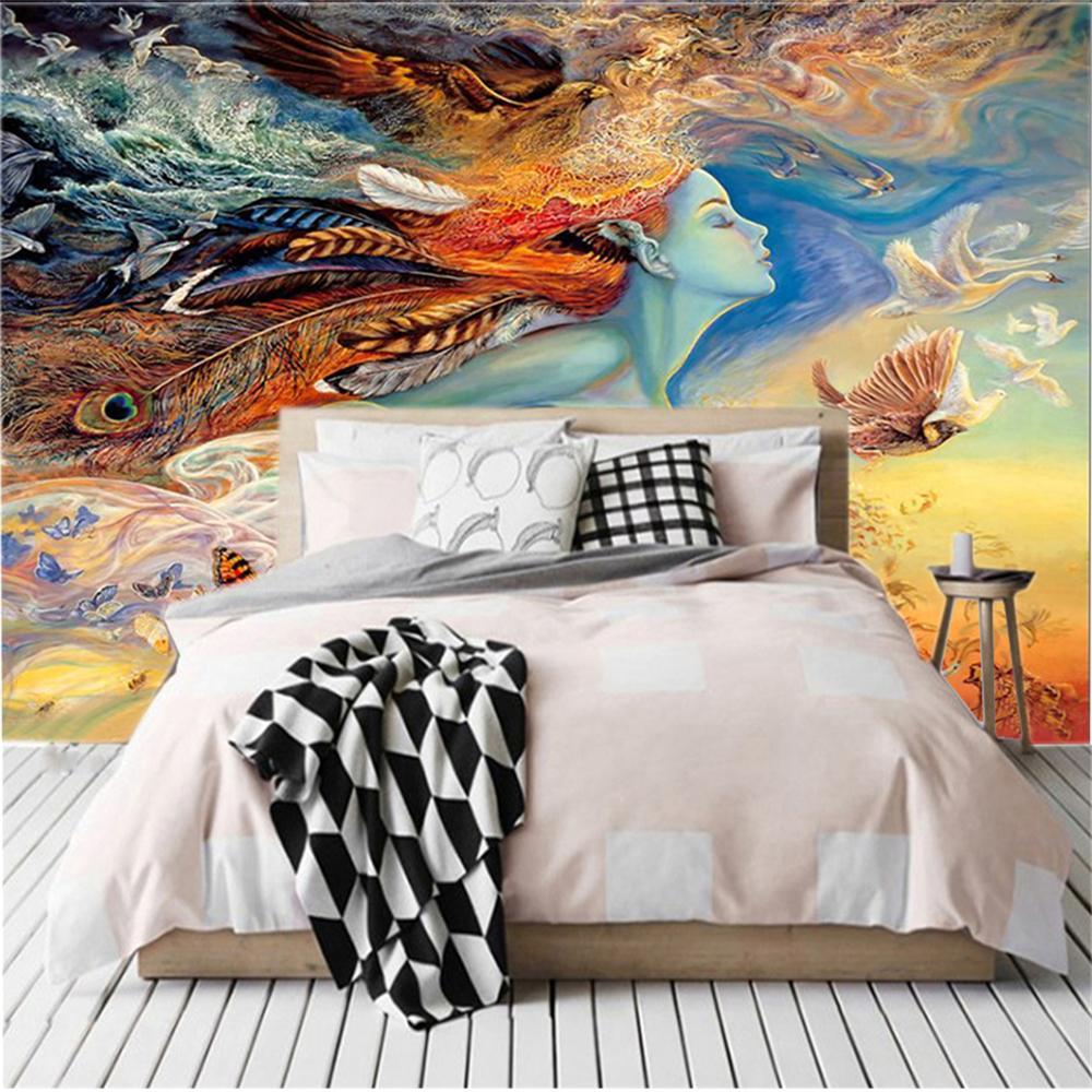 Пользовательские любые размер 3d обои абстрактные красоты девушка маслом живопись домашнего декора гостиная телевизор фона связанные настенные настенные обои
