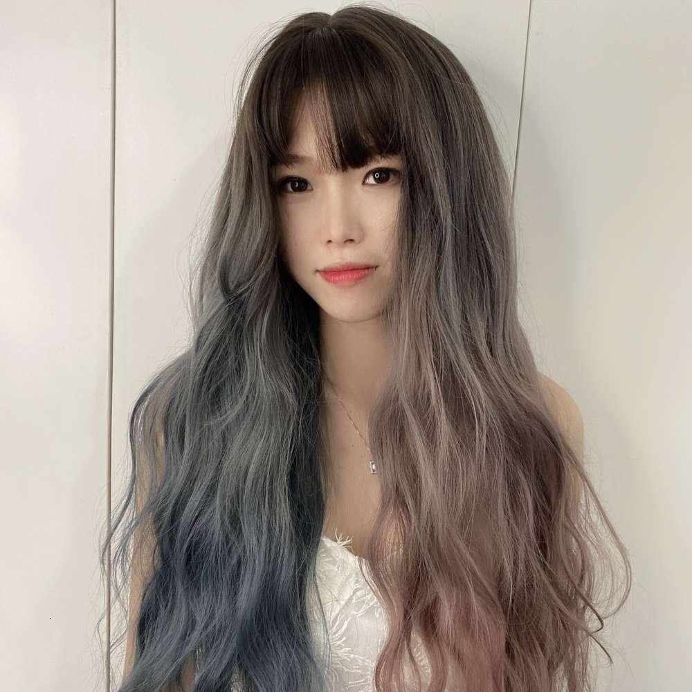 Beliebte Perücke Damen Lange Haare Mandarin Ente Farbe Volle Kopfabdeckung Große Welle Zwei Farbe Sogar Pony Full Head Cover