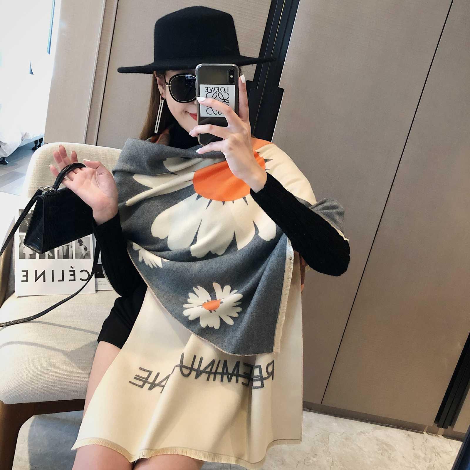 2020 nouveau écharpe cachemire automne et hiver Version coréenne des femmes Daisy pour garder au chaud