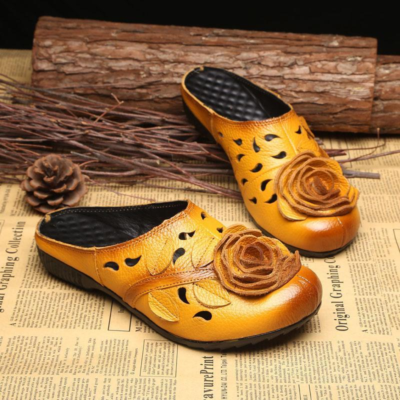 Sapatos lisos de couro genuíno mulheres sandálias chinelos fecharam o dedo do pé verão sapatos de corte de flores artesanais