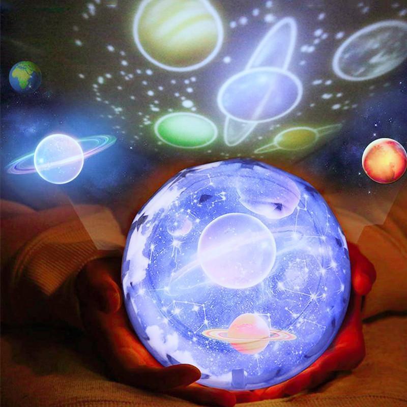 갤럭시 프로젝터 밤 빛 별이 빛나는 하늘 행성 마법의 홈 플라네타륨 우주 주도 다채로운 회전 스타 키즈 램프 선물
