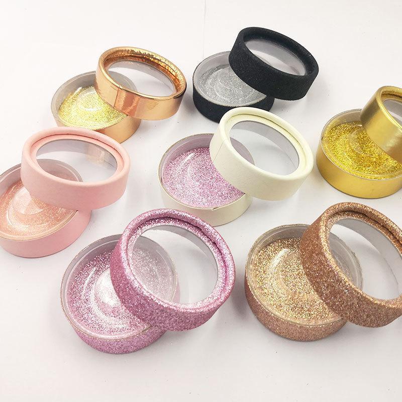 Mink Eyelashes Box False Eye Lashes Boxes With Holder Clip Round eyelash Case Gift Box Eyelash Storage Cases
