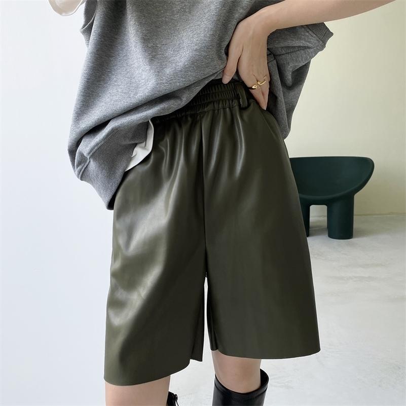 Yeeloca осень из искусственной кожи шорты женские повседневные высокие талии похудения обрезанные брюки корейский верхняя одежда свободно прямые шорты 210316