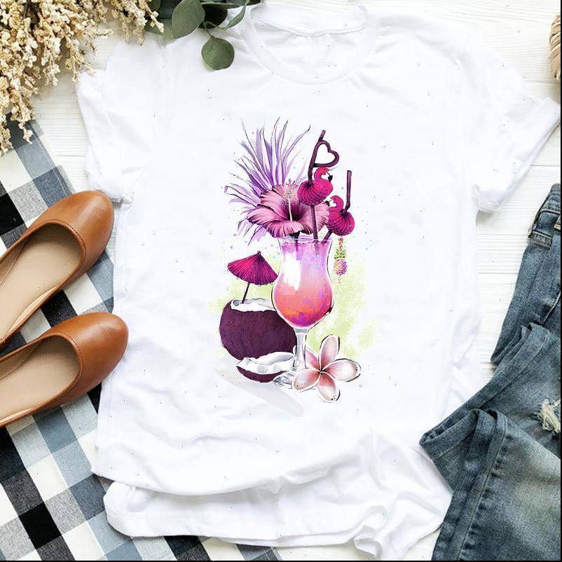 Donne Lady Beach Vacation Summer Autumn Stampa Carino Stampa Tshirt Camicia Abbigliamento Top Graphic Femmina T T Tee Womens T Shirt