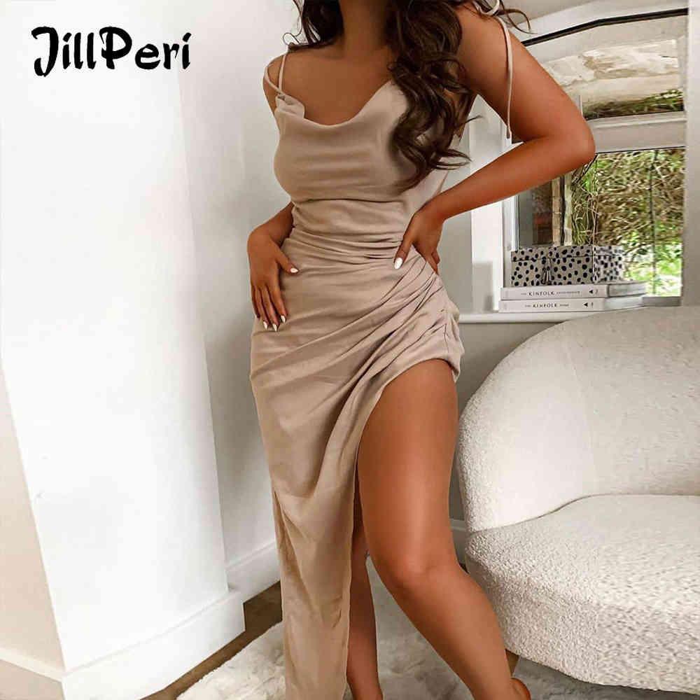 Jillperi Sin mangas Vestido de fiesta de noche irregular Champagne Sexy Backless Leg Open Luxury Outfit Outfit Mujer Maxi Vestido X0521