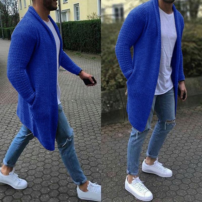 Suéteres de hombre Streetwear Cardigan manga larga Midi Suéter de abrigo con bolsillo Invierno y otoño Casual Color Sólido Cardigans Ropa