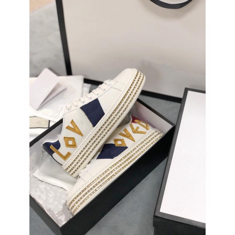Gucci shoes 2021 Nova Nova Moda Designer Original Sapatos de Cristal Bordado Bordado Sapatos de Moda Com Top Quality Genuine Leather Tamanho 35-41