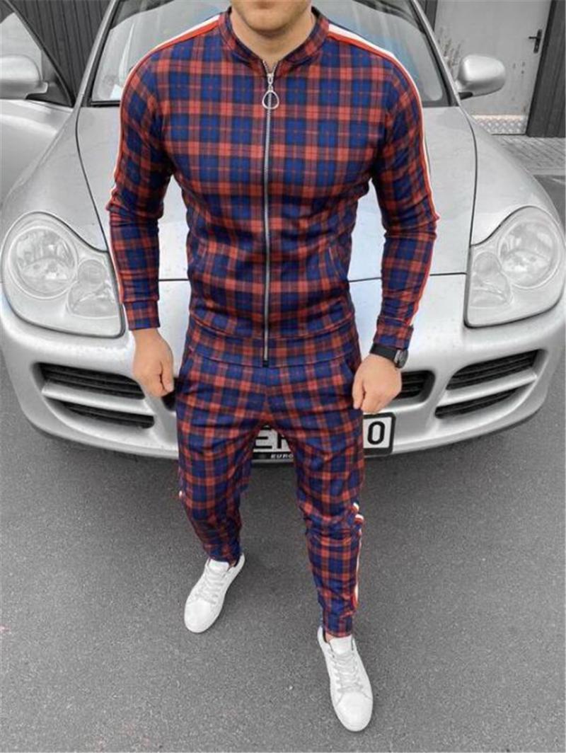 Men's Tracksuits Fashion Business Wear Gentlemen Suit Zipper Jacket Stitching Striped + Pants Gym Casual Sportswear