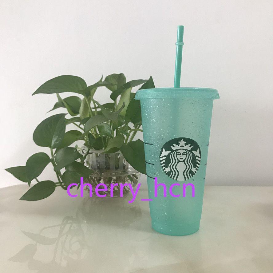 24oz Starbucks Renk Değişimi Tumblers Plastik Kahve Plastik Şeffaf Kupası Glitter Bardaklar İçme Suyu Kahve Kupa Samanlar ve Kapak 15pas