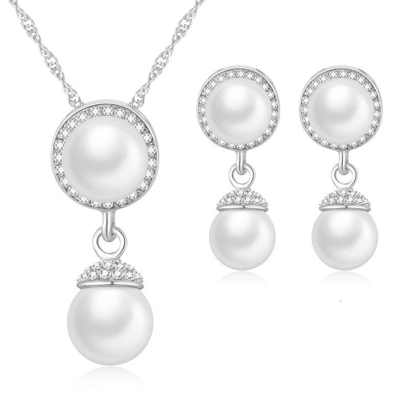 Корейский темперамент простой циркона женские алмазные дюйм полые круглые жемчужные серьги ожерелье набор женщин