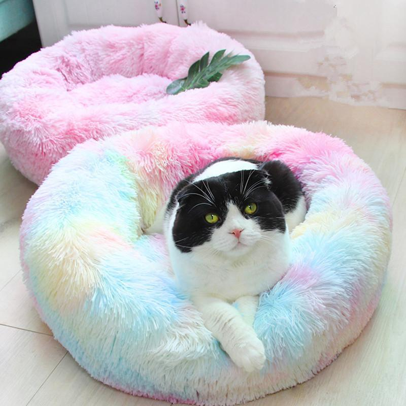 Derin Uyku Kedi Yatak Evi Pet Kedi Kennel Yuvarlak Uzun Peluş Kış Sıcak Nest Pad Köpek Yatağı Teddy Gökkuşağı Renkler Malzemeleri