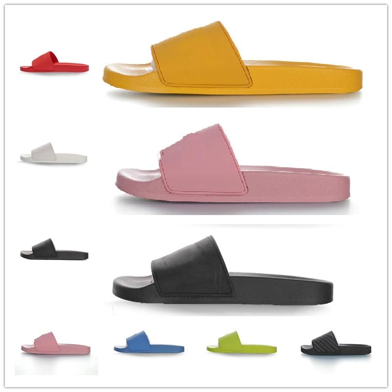 2021 Paris Hombres Mujeres Zapatillas Sandalias de goma Casa Baño Piscina Cubiertas de interior Slide Summer Fashion Flat Full Fund Ladies Beachs Caja de flores