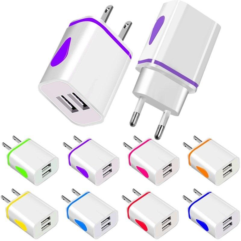 LED Light 2.1a US EU Home Travel Wall Charger محول آيفون 7 8 × 11 HTC Samsung Galaxy S8 S9 S10
