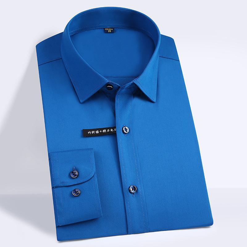 남성 편안한 - 부드러운 부드러운 대나무 섬유 드레스 셔츠 포켓이 적은 디자인 긴 소매 표준 맞춤 고전적인 쉬운 케어 셔츠