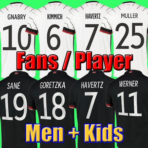 ألمانيا Soccer Jersey 2020 2021 مشجعي المشغل نسخة هملاء كروس غنابري فيرنر درنسر ريوس مولر جوتز كأس الكأس الأوروبية قميص زي الرجال + أطفال كيت