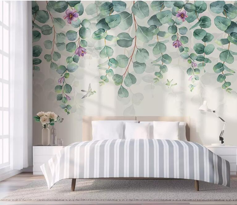 Wallpapers Bacal Wall Papers Home Decor Custom Wallpaper 3D Nordic Minimalist Tropical Leaves Flowers Butterfly Bird Green Leaf Room