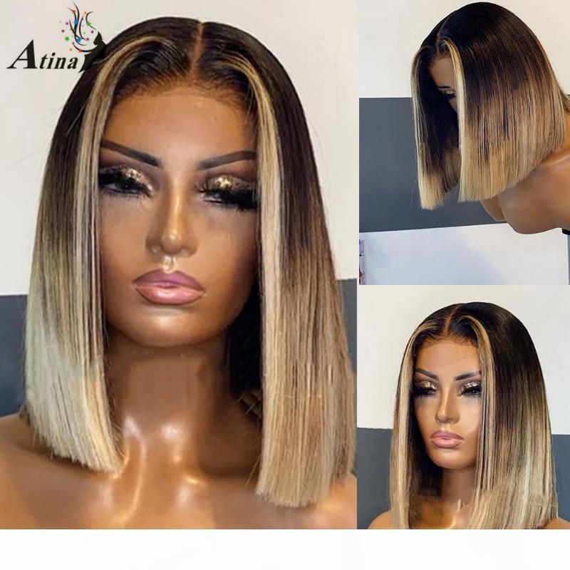 ATATIA 613 Couleur Remy Brésilien Droit Bob Partie Bob Part Dentelle Human Cheveux Perruques pour femmes Noir Femmes Preflinée Fermeture