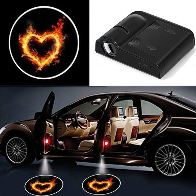 2PCS باب السيارة LED العارض ضوء الليزر العارض شعار ضوء سيارة مجاملة مصباح ترحيب أضواء ل بنز بي ام دبليو رينو بيجو