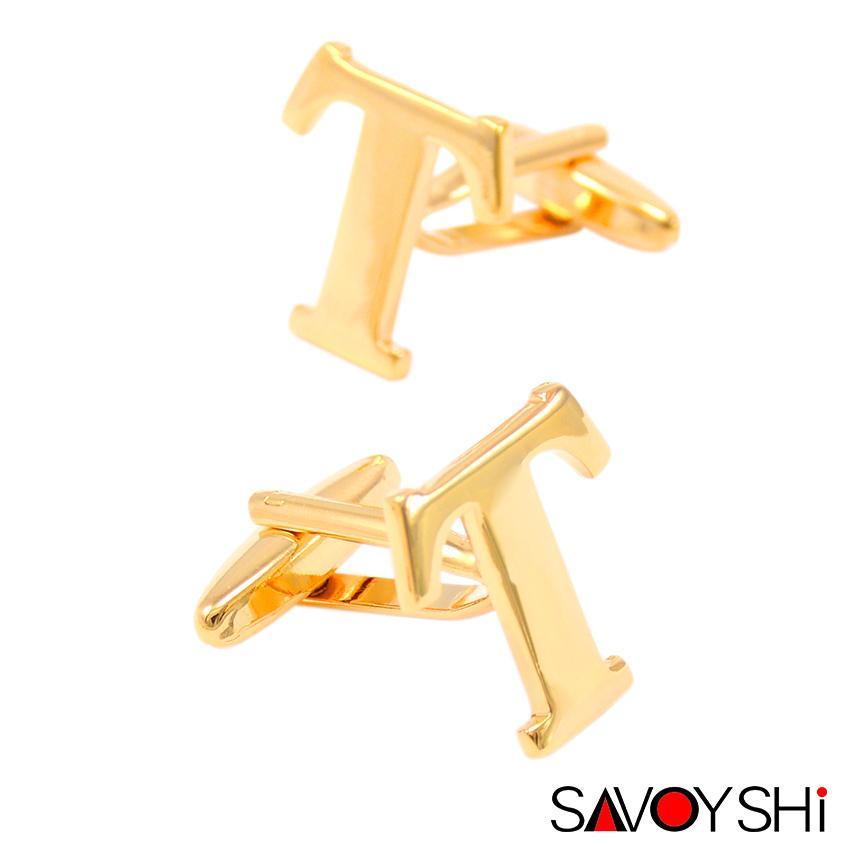 2 couleurs lettre T Boutons de manchette avec boîte-cadeau pour accessoires pour hommes Boutons de manchette métallique haute qualité Mariage Boutons de manchette Men Gemelos L0310