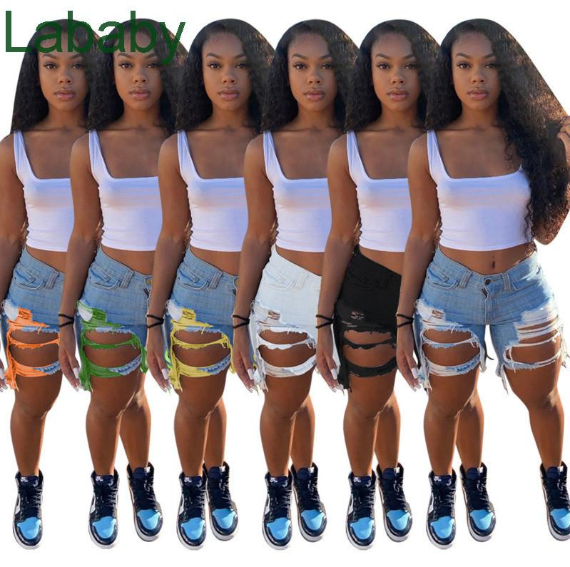 Desinger Summer Women Short Jeans Tassel High Waist Jeans Fashion Designer Vintage Shorts Hole Female Skinny Pants 2021